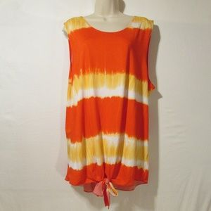 NEW 3X Sleeveless Tunic Tie Front~ Small Pull Flaw
